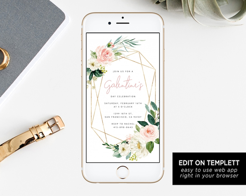 Galentine's Day Electronic Invitation Template Mobile image 0