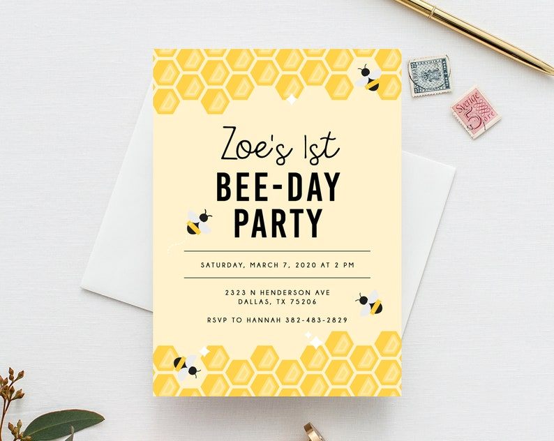 picture about Bee Template Printable referred to as Bee Working day Invite Template, Bumble Bee Birthday Invitation Template, Printable Bee Honeycomb Birthday Invitation, Instantaneous Obtain, Templett