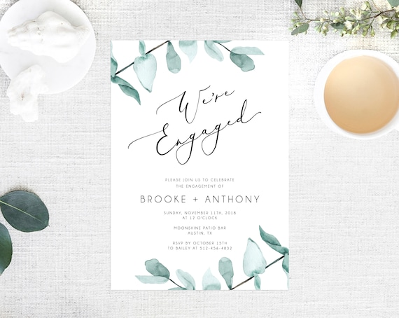 Greenery Engagement Party Invitation Template, Printable Engagement Invitation, Engagement Invite, Editable Template, Templett, W21