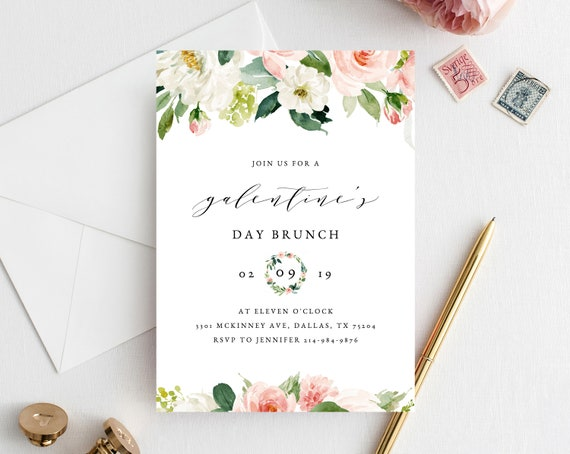 Galentine S Day Invite Template Printable Galentines Etsy