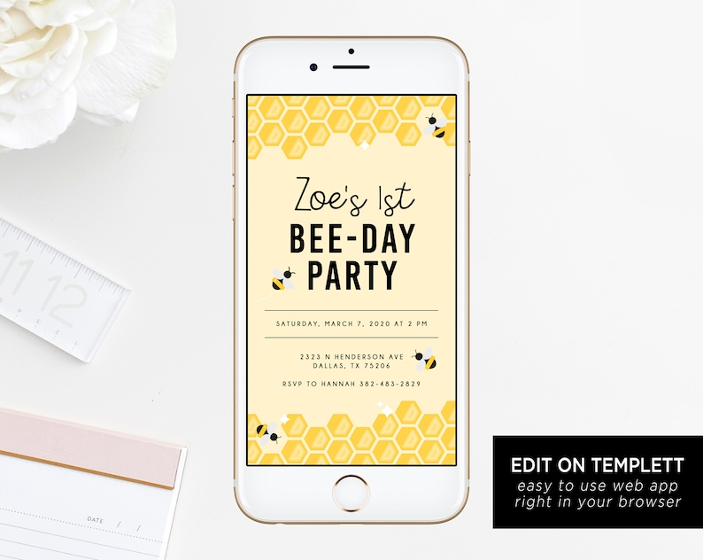 Bee Day Electronic Invitation Template Bumble Bee Birthday Etsy