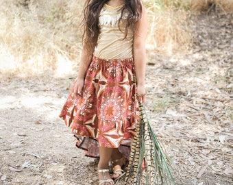 Brown Pink and Orange Fall Hi Lo Ruffle Skirt for Girls Toddlers Tweens Juniors