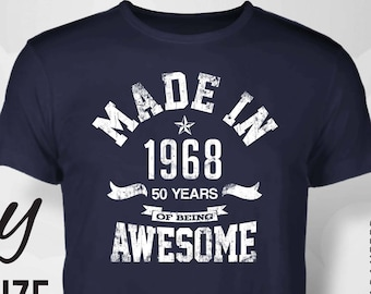 46d7d3de 50th birthday, 50th birthday gifts for women, 1968, 50th birthday gift,  50th birthday tshirt, 50th birthday gift for men, made in 1968, gift