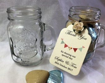 Vintage mason style shot glass for wedding favours