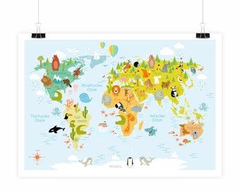Weltkarte kinder | Etsy