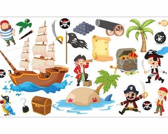 Pirat Wandtattoo Piratenschiff Wand Sticker Kinder Jungen Schlafzimmer
