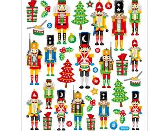 Nutcracker Stickers with Glitter - Sheet 15 x 16.5 cm - Decoration Stickers Advent Calendar DIY Christmas Gift Stickers