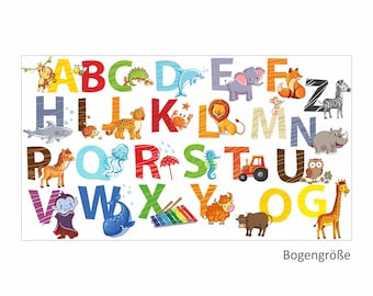 084 Wall Decals alphabet Animals ABC Children's ROOM sticker * Nikima * in 6 verse. Sizes