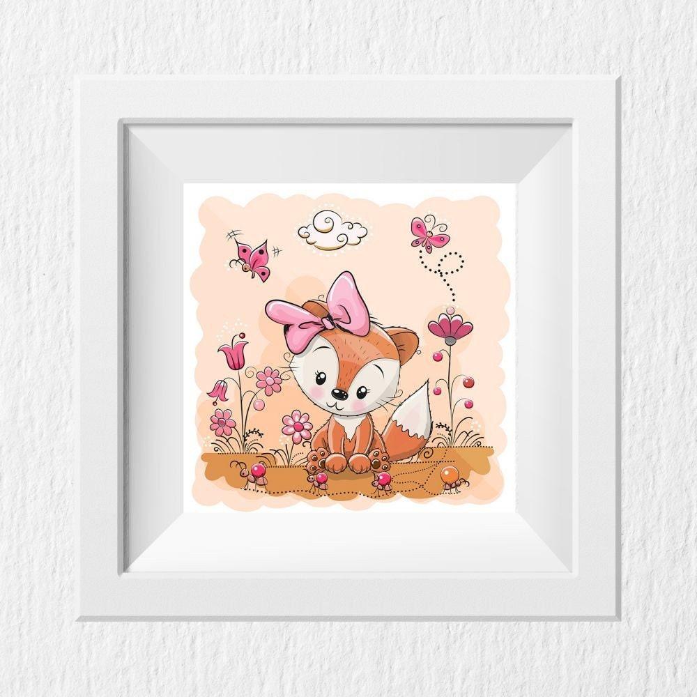 21 Kinderzimmer Bild Fuchs rosa Poster 21 x 21 cm