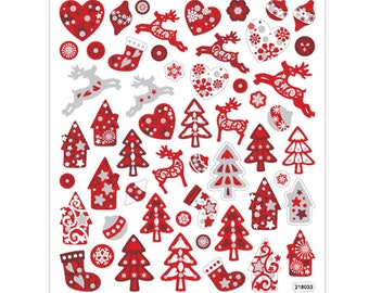 Christmas Sticker Red with Glitter - Sheet 15 x 16.5 cm - Decoration Stickers Advent Calendar DIY Christmas Gift Stickers