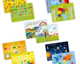 Set of 5 table sets with learning effect for children * Nikima * for dining table printed on both sides ABC 123 world map Time-color Placeset
