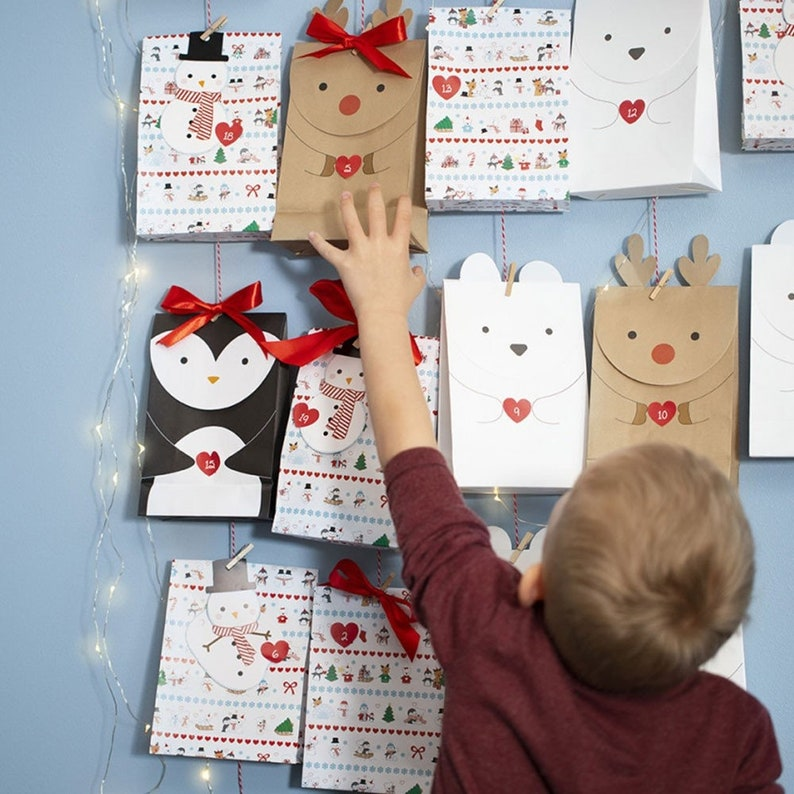 Gift Bag Christmas Advent Calendar DIY 6 x 12 cm H18cm 6 paper bags folding carton PINGUIN blackwhite