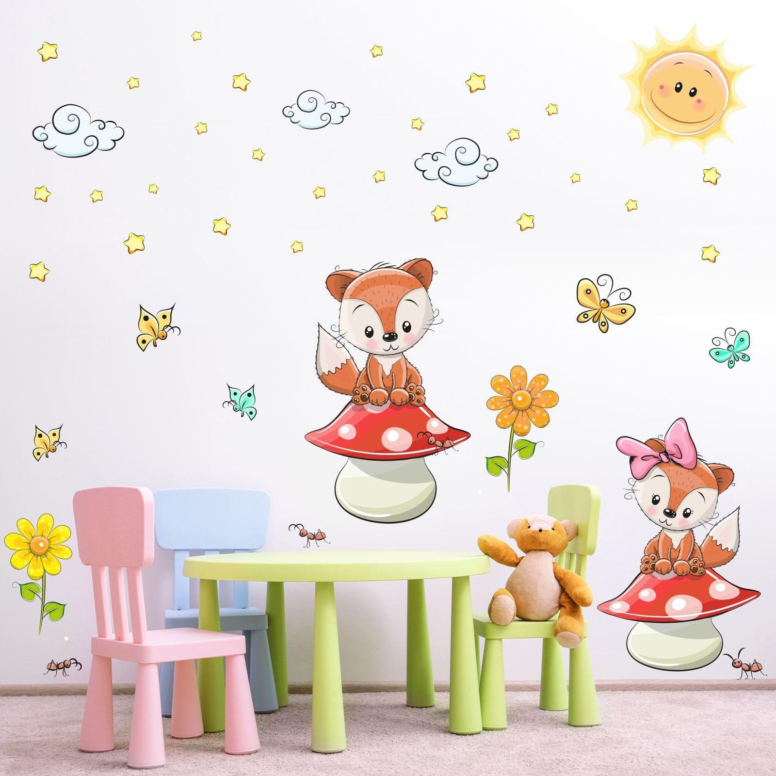 21 Wandtattoo Füchse auf Pilz Kinderzimmer Sticker Aufkleber