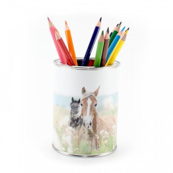 12 Dreikant Buntstiften Kinder Stifteköcher Stiftebecher Pferde inkl