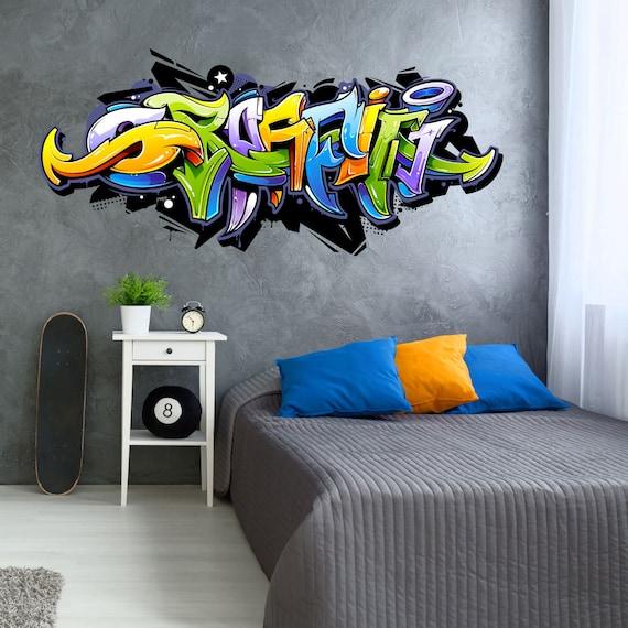 158 Wandtattoo Graffiti Bunt In 6 Grossen Wanddeko Etsy