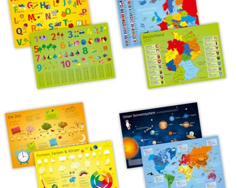 Set of 4 table sets with learning effect for children * Nikima * for dining table printed on both sides ABC 123 world map Time-color Placeset