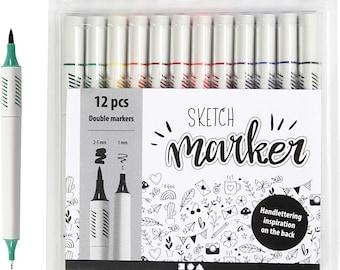12 Brush pens Double-fiber painter felt pens