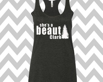 7d53f07889f6 She's A Beaut Clark Griswold Family Christmas Tank Top Racerback Tank Top  Ugly Christmas Tank Top Funny Holiday Party Ugly Christmas Shirt