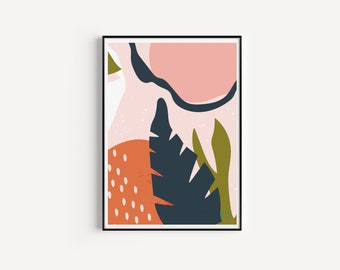 Abstract Shapes and Leaves Wall Art, Modern Wall Art, Object Art, Mid Century Style Art, Abstract Art Print, A3, A4, A5