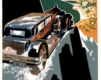 1930 Monte Carlo Rally Poster  A3/A2/A1 Print