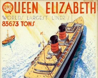 Vintage Cunard Queen Elizabeth Cruise Liner Tourism Poster  A3 Print