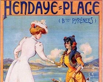 Vintage Hendaye Plage France Spain Border Tourism Poster Print A3//A4