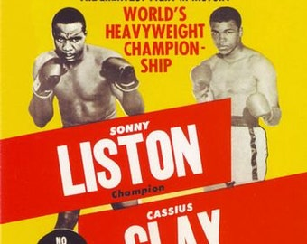 1dfe73b0 Vintage Sonny Liston Cassius Clay Boxing Promotional Poster A3/A2/A1 Print