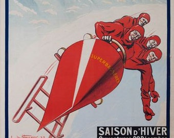Vintage 1930 World Bobsleigh Championships Montreaux Poster A3//A2//A1 Print