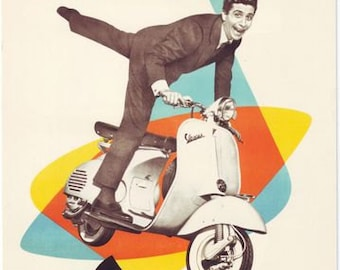 VINTAGE HEINKEL TOURIST SCOOTER AND BUBBLE CAR ADVERTISING A3 POSTER PRINT