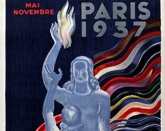Vintage 1937 Paris Art Exhibition Poster A3 Print