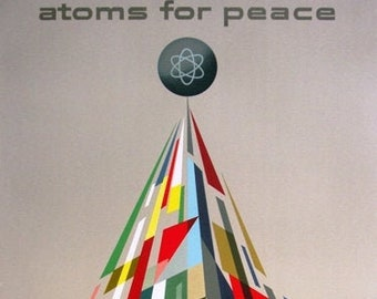 MID CENTURY EAMES ERA 1950s GENERAL DYNAMICS ATOMS FOR PEACE A3 POSTER ART PRINT