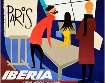 Vintage Iberia Spanish Airlines Flights to Paris  Poster A3 Print