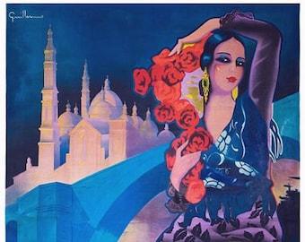 Vintage Zaragoza Spain Tourism Poster A3//A4 Print