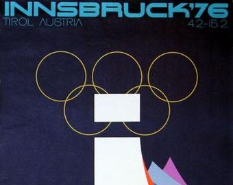 Vintage 1976 Winter Olympics Innsbruck Austria  Poster A3 Print