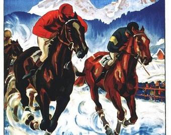 Vintage St Moritz Switzerland Horse Racing Winter Sports Poster A3//A2//A1 Print