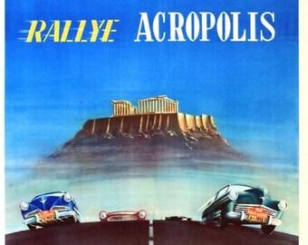Vintage 1956 Greek Acropolis Rally  Poster  A3 Print