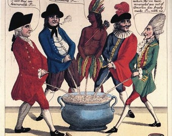 """Vintage 18th Century Political Satire Cartoon """"P*ss or Peace"""" Poster A3/A2/A1 Print"""