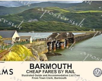 Vintage LMS Llanfairfechan Gem of North Wales Railway A3//A2//A1 Print