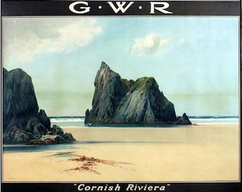 Vintage GWR Newquay Cornish Riviera Railway Poster  A3 Print