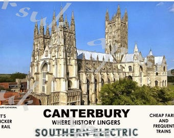 Vintage British Railways Exeter Cathedral Railway Poster A3//A2//A1 Print