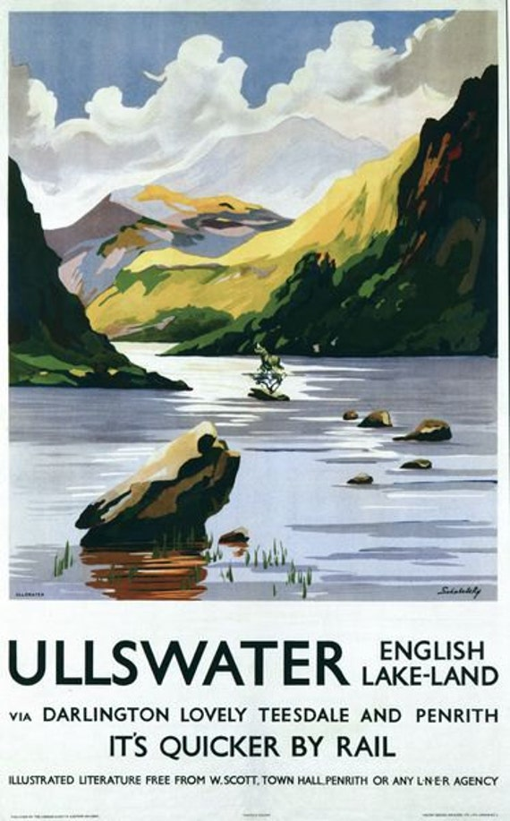 A2  Reprint British Railways English Lakes Windermere  Railway Poster A3