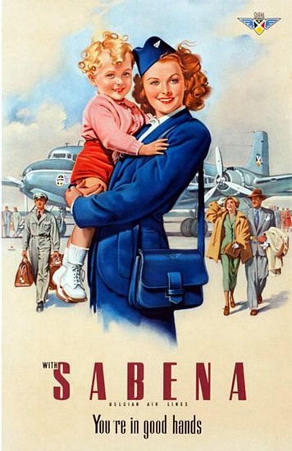Vintage Sabena Flights to Spain Airline Poster A3 Print