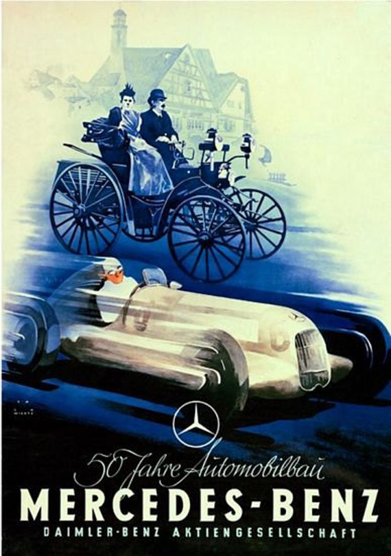 Vintage 1938 Mercedes Benz Motor Racing Poster  A3 Print