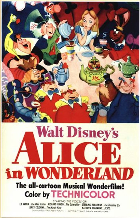 Vintage Alice In Wonderland Movie Poster A3/A2/A1 Print | Etsy