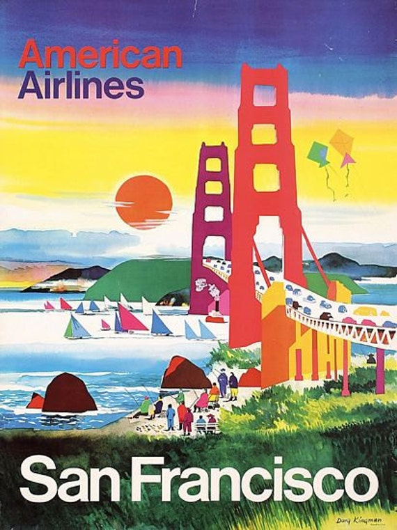 VINTAGE CALIFORNIA AMERICAN AIRLINES TRAVEL A3 POSTER PRINT