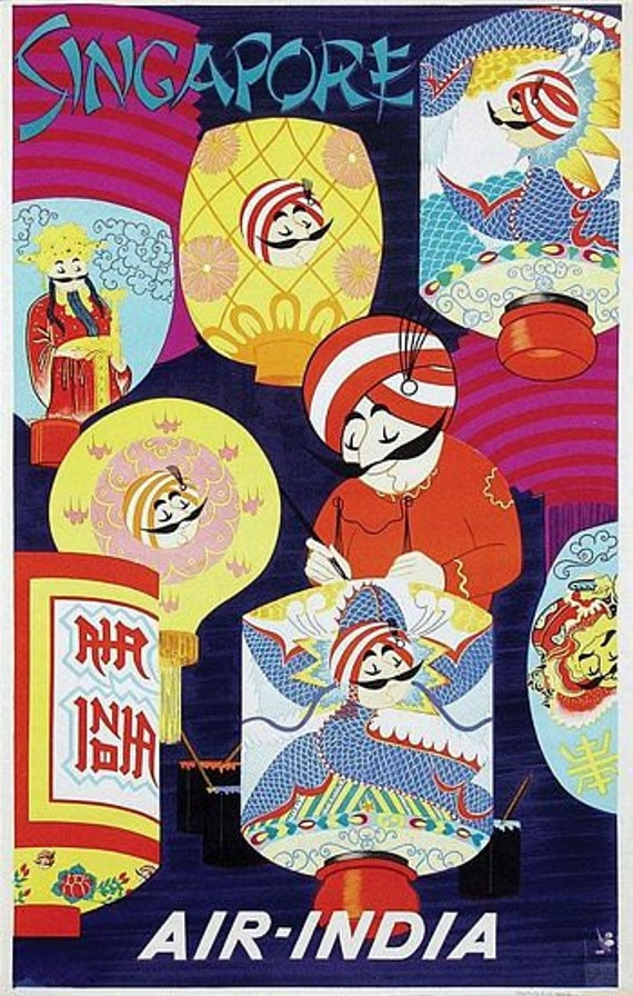 A2 Print Vintage Air India Flights to Rome Travel Poster A3