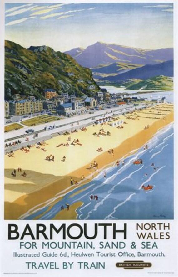 Vintage British Rail Rhyl North Wales Railway Poster A3 Print