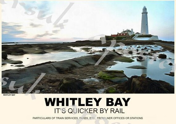LNER WHITLEY BAY Vintage Art Deco Railway//Travel Poster A1,A2,A3,A4 Sizes