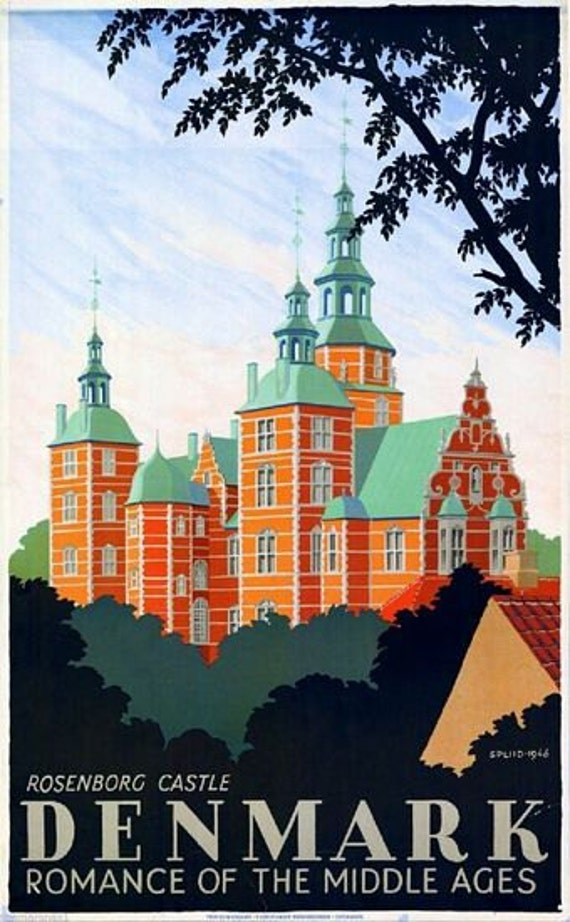 Vintage Odense Denmark Tourism Poster A3 Print