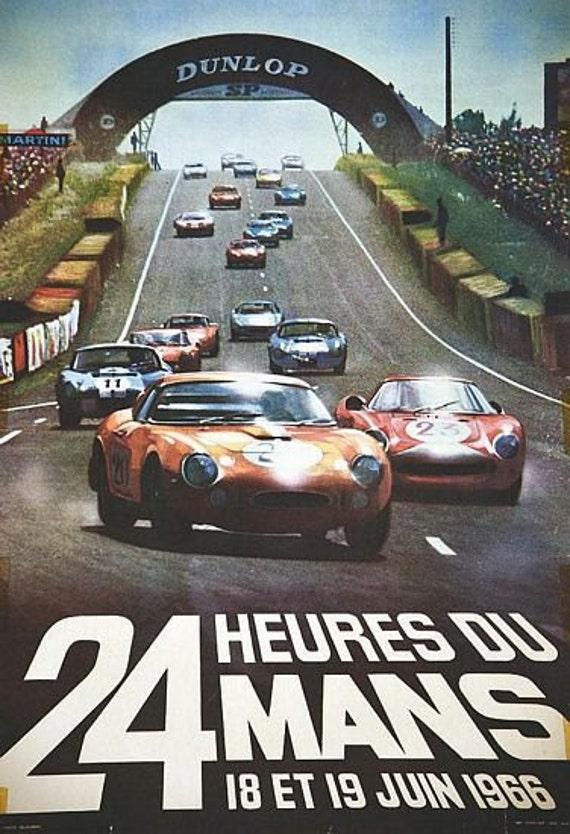 1966 24 Hours Le Mans French Automobile Race Advertisement Vintage Poster 3